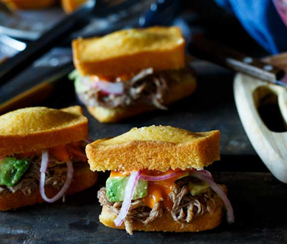 Cornbread Loaves Pulled Pork and Cole Slaw Sliders