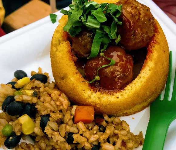 Cornbread Bowl with Meat Balls and Rice Pilaf