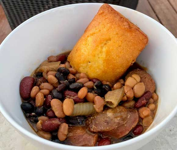 Cornbread Loaves with Ham Bean Soup