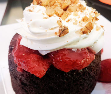Chocolate Cake Bowl with Strawberry and Whip Cream